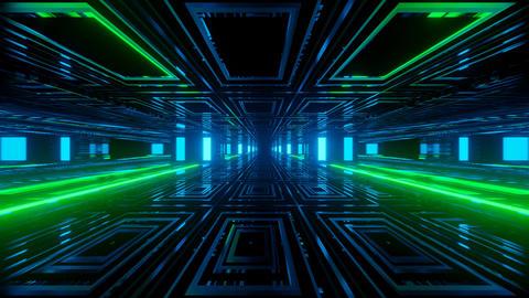 Futuristic tunnel with neon illumination 3D illustration Animation