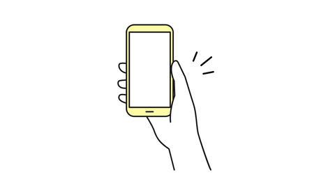 スマホと手のイラストのアニメーション 持つ スマートフォン シンプル かざす 操作 支払い CG動画