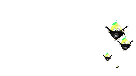 Cartoon character lemon bandit with guns on a white background Animation