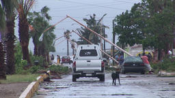 Hurricane eye - calm conditions people checking on their property Footage