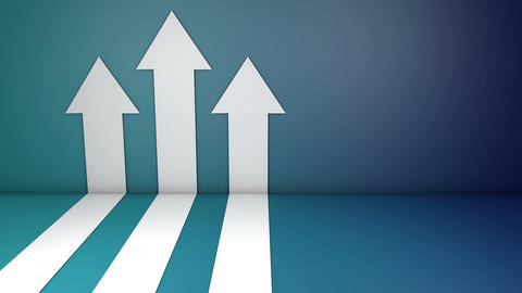 White arrows climbing blue wall. Growth chart graph investment. Booming economic growth breaking Animation