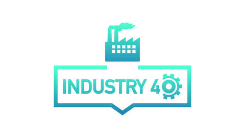 Industry 4.0 label. Industrial concept art for further development of modern Animation