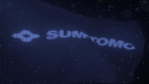 Waving digital flag with SUMITOMO company logo, looping 3d animation Live Action