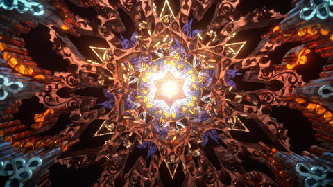 3D kaleidoscope mandala abstract background of trippy art psychedelic trance to open third eye with Animation