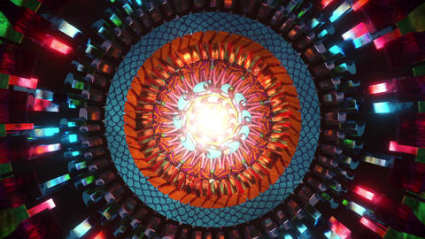 Futuristic 3D kaleidoscope mandala abstract background of trippy art psychedelic trance to open Animation