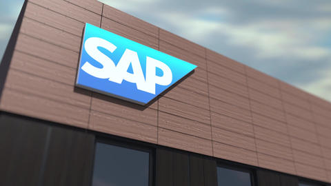 SAP SE logo on the building, editorial time lapse 3d animation Live Action