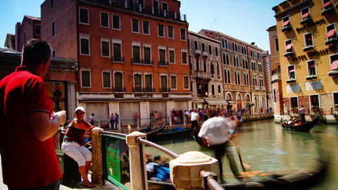 Some attractions of Venice city in Italy, gondola parking Footage