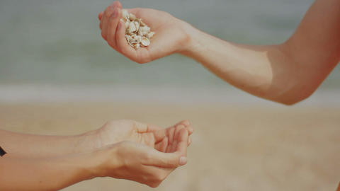 girl holding a shell in her hands at the beach Stock Video Footage