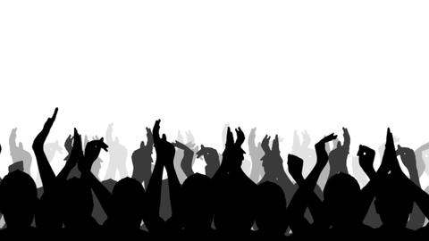 Cheering Crowd Silhouettes, isolated on a white background Stock Video Footage