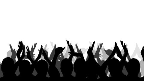 Cheering Crowd Silhouettes, isolated on a white background Footage