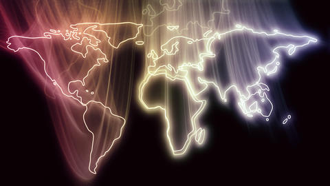 Continents Become Glowing World Map Stock Video Footage