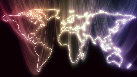 Continents Become Glowing World Map Animation