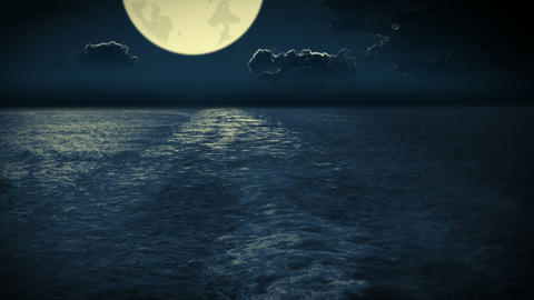 Navigation at the nighttime ocean Stock Video Footage