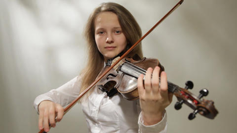 Violinist, Girl playing the violin, studio shot Stock Video Footage