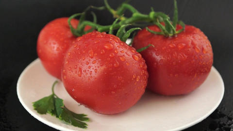 Tomato With Water Drops stock footage