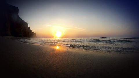 The surf at dawn. Lowest point shooting Stock Video Footage