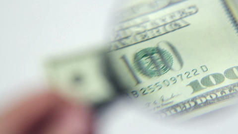 Close-up Authentication Of One Hundred Dollars Ban stock footage