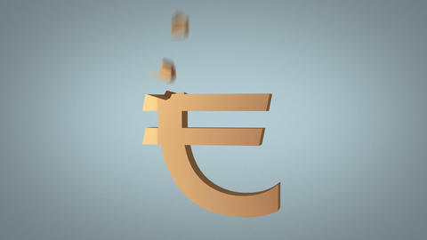 euro sign reconstruction concept over grey Stock Video Footage