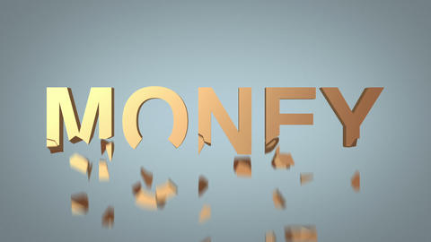 word money destruction concept over grey background Animation