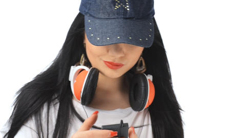 Beautiful girl listening to music and dancin Stock Video Footage