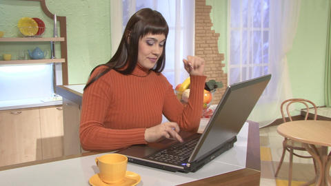 Coffee Break, woman and laptop computer Stock Video Footage