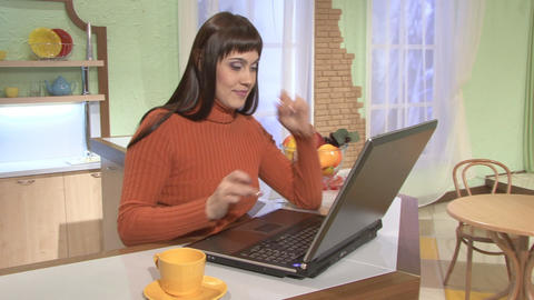 Coffee Break, woman and laptop computer Footage