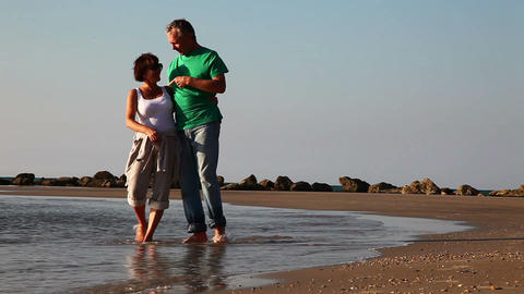 Сouple On Beach stock footage