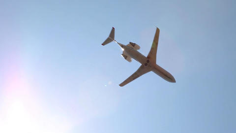Plane flies in the sky Stock Video Footage