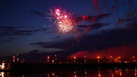 Firework streaks in the night sky Stock Video Footage