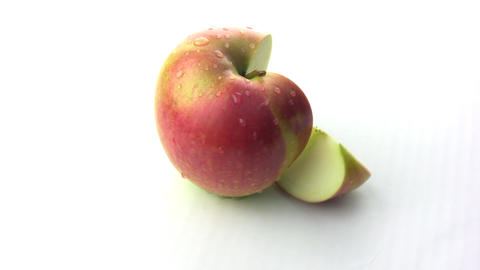 Rotation of the apple slices with a truncated Stock Video Footage