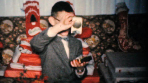 Boy Gets Crazy Presents For Christmas 1960 Vintage 8mm film Stock Video Footage