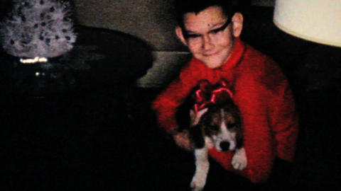 Boy Gets New Puppy For Christmas 1960 Vintage 8mm film Footage