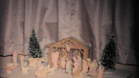 Christmas Nativity Scene 1957 Vintage 8mm film Stock Video Footage