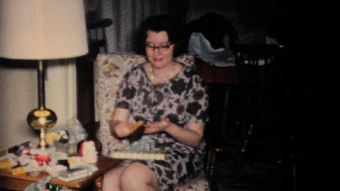 Family Enjoying Christmas Presents Together 1957 Vintage... Stock Video Footage