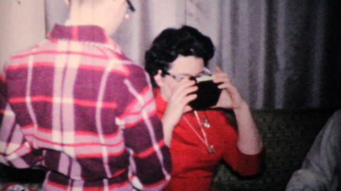 Family Enjoying Christmas Presents Together 1957 Vintage 8mm film Footage