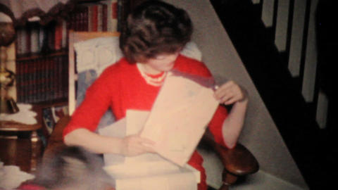 Family Opening Christmas Presents 1957 Vintage 8mm film Stock Video Footage