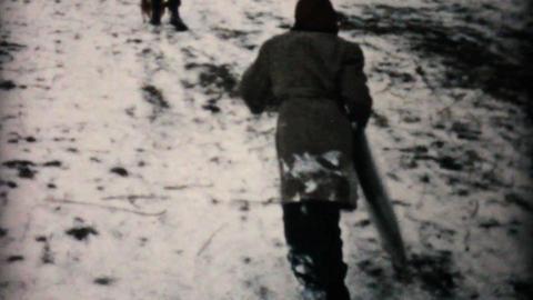 Kids Having Fun Sledding In Winter 1957 Vintage 8mm film Stock Video Footage