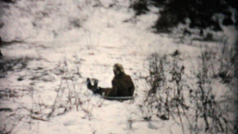 Kids Having Fun Sledding In Winter 1957 Vintage 8mm film Footage