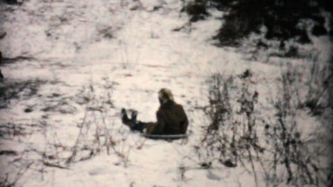 Kids Having Fun Sledding In Winter 1957 Vintage 8mm film Stock Video Footage