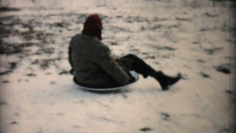 Kids Sledding In Winter 1957 Vintage 8mm film Stock Video Footage