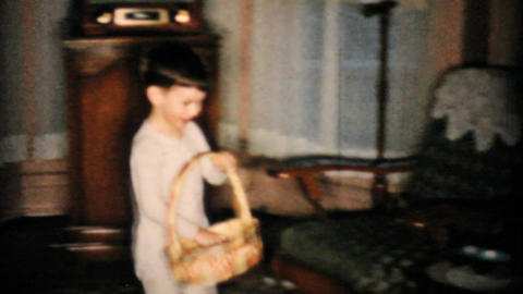 Little Boy Finds Lots Of Easter Eggs 1957 Vintage 8mm film Footage