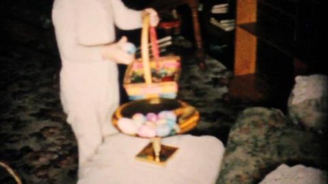 Little Boy Finds Lots Of Easter Eggs 1957 Vintage 8mm film Stock Video Footage