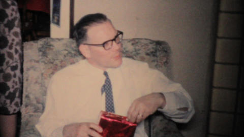 Man Gets Shaving Kit For Christmas 1960 Vintage 8mm film Footage