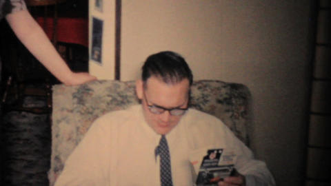 Man Puts Shaving Cream On His Nose At Christmas 1960... Stock Video Footage