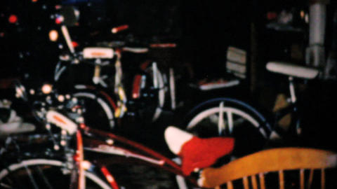 New Bikes For Christmas 1957 Vintage 8mm film Stock Video Footage