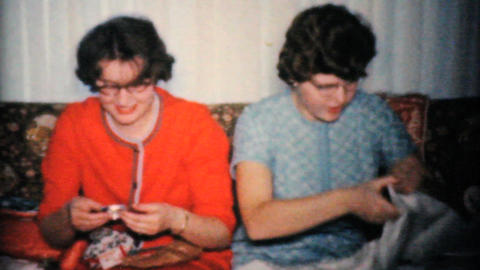 Sisters Get New Clothes For Christmas 1960 Vintage 8mm film Stock Video Footage