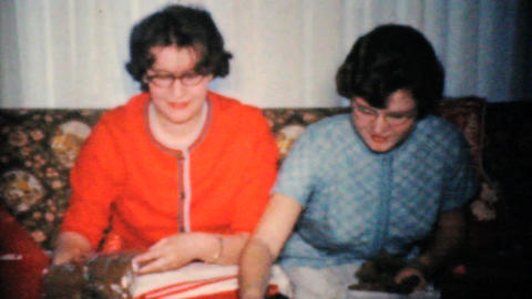Sisters Opening More Christmas Presents 1960 Vintage 8mm film Footage
