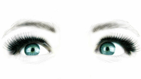 Large eye of the woman. Tinted green Stock Video Footage