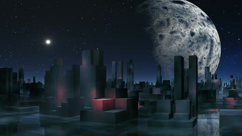 Alien city and major planet Animation