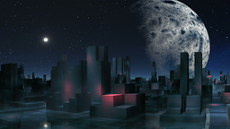 Alien city and major planet Stock Video Footage
